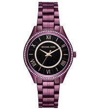 Michael Kors Womens Lauryn Plum Crystal Stainless Steel Bracelet Watch MK3724
