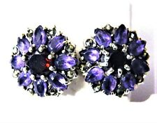 Vintage Garnet Amethyst Earrings Sterling Silver Natural Gems Gift Rosette Purpl