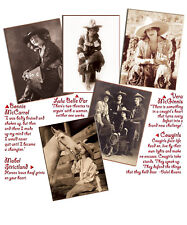 Historical photo western rodeo cowgirl greeting cards, 5 images, history on back
