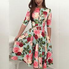 Women Summer Long Sleeve Floral Maxi Dress Party Beach Dress Floral Sundress