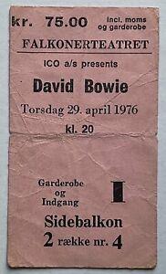 David Bowie Original Concert Ticket Falkonerteatret Copenhagen 29th April 1976