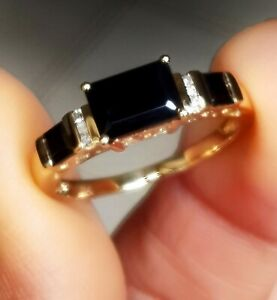 Natural Black Sapphire Diamond Solid Yellow 9K Gold Ring Wedding Cocktail Dress