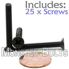 M4 x 30mm - Qty 25 - DIN 965 Phillips FLAT HEAD Machine Screw Black Ox - Type H
