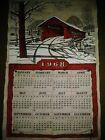 Vintage 1968 Calendar Barn Bridge Wall Hanging Tapestry