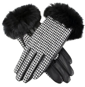 Dents Eliza Women's Wool Lined Fabric & Hairsheep Leather Gloves with Fur Cuffs