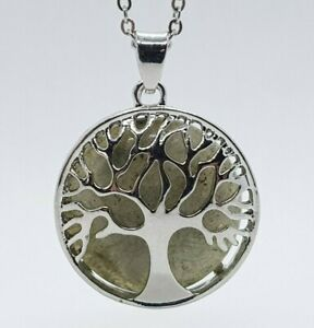 Tree of Life Necklace Dark Moonstone Quartz Healing Stone Crystal Silver Chain