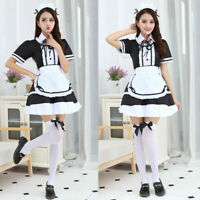 Halloween Sexy Japanese Anime Lolita Maid Uniform Dress Cosplay Costume Outfit