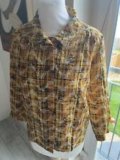 VINTAGE 70's YELLOW CHECK PRINT FITTED BLOUSE SHIRT UK 12 MEDIUM
