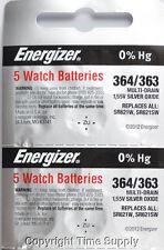 10 pc 364 / 363 Energizer Watch Batteries SR621SW SR621 0% Hg