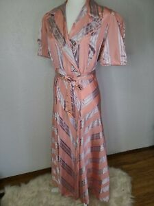 1940s Dress Robe, House Coat, Pink & Silver Stripes, vintage Hostess Gown retro