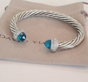 David Yurman Sterling Silver 7mm Cable Candy Blue Topaz & Diamond Bracelet