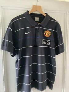 Manchester United AIG Black And White Striped Polo Shirt Adult Large