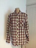 "FRED PERRY Mens Red Tartan Shirt, Button Down Collar, Long Sleeve Sz S 36-38"""