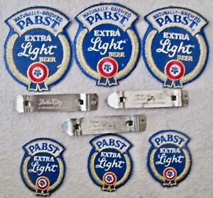 Brewery Pabst Extra Light uniform patches & Falls City bottle openers near mint