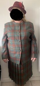 Two Piece Tartan Skirt & Jacket Suit, Lead Rein Outfit Plus Size