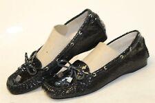 Michael Kors MISMATCH Womens 7.5 7 M NEW Black Leather Moccasins Flats Shoes oe