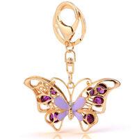 Handbag Charms Accessories Purple Crystal Butterfly Keyrings Key Chains HK75
