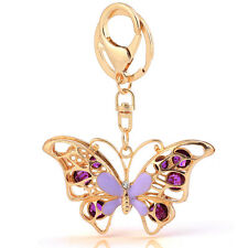 Handbag Charms Accessories Purple Crystal Butterfly Keyrings Key Chains HK75