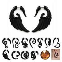 2Pcs Acrylic Spiral Horn Earrings Gauge Fake Cheater Stretcher Ear Plug Piercing