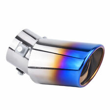 Blue Stainless Steel Car Rear Oval Round Exhaust Pipe Tail Muffler Tip Universal