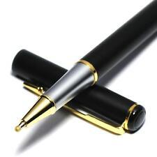 Roller Ball Gel Pen School Business Stationary 0.5mm Nib Gold Clip Black Metal