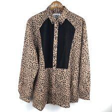 One Teaspoon Leopard Print Blouse Top Shirt Oversized XS Cheetah Animal