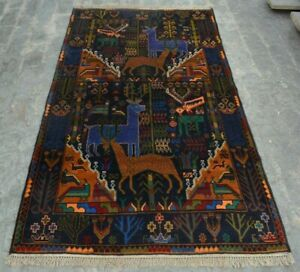 F2769 Vintage Handmade Afghan Tribal baluchi Pictorial Nomad Rug 3'7 x 6'7 Feet