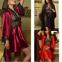 Sexy Lingerie Women Set Nightdress Lace Robe Babydoll Satin Sleepwear Silk Gown