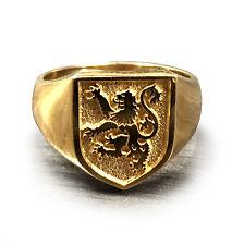 New Lion Rampant Ring 10K Solid Gold Custom Designed Full Solid Back BEAUTY!