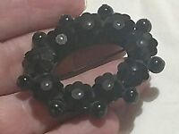 "VTG Estate Mourning Faceted Black Jet Glass Onyx Brooch Pin Oval 2"" X 1.5"""