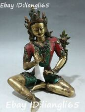 Tibet Turquoise Coral Inlay Gem Temple Mahayana Green Tara Goddess Buddha Statue