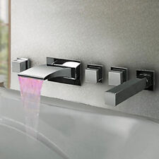 LED Waterfall Tub Faucet Bathroom Mixer Tap Shower Wall Mounted Sprayer Head 5pc