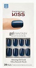 Kiss Gel Fantasy Glue On Full Cover Short Length Blue Green Nails Tight Fit