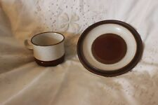 Vintage DENBY brown & cream POTIERS ROUE Cup Side Plate