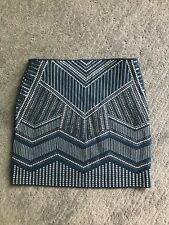 Womens Express Blue Silver Sequin Mini Skirt Size S NWT