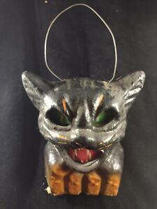 Old Vintage Halloween Pulp Paper Mache Black Cat Lantern w/ Original Face Insert