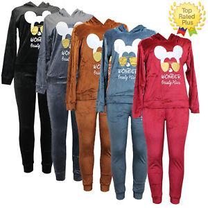 Ladies Co ord Velvet Velour Hooded Top Bottoms 2pc Loungewear Suit Set Tracksuit