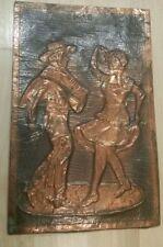 "Vintage Chile folk art copper tin dancing couple 11.25"".×.7.5"""
