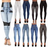 Women High Waisted Denim Skinny Jeans Ladies Stretch Pants SIZE 8 10 12 14 16 18