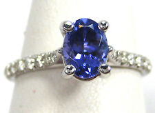 Tanzanite Ring 14K White Gold French Pave Solitaire Heirloom AAA+ Free