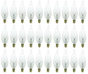 30-Pack of 40 Watt Flame Tip Chandelier Light Bulbs E12 Candelabra Base 40W