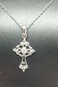"""Sterling Silver Ladies Celtic CZ Cross Pendant  on a 18 or 20"""" chain"""