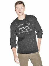 566c7dbde14cf GUESS Black Mens Size Medium M Velour Pullover Hooded Sweater  071