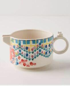 """New Anthropologie Stoneware Colorful Floral Print White Mason Creamer 11oz 4"""" D"""