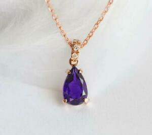 """4Ct Pear Cut Amethyst Solitaire Pendant 14K Rose Gold Finish 18"""" Free Chain"""