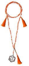 "Halskette Yoga Mala ""Svadisthana Sakral Chakra"" Glasperlen mit Metall Anhänger"