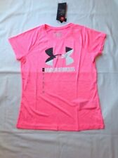 Girls Under Armour HG Loose Fit Short Sleeve Polyester Tshirt Pink XLG NWT