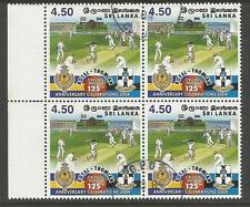 SRI LANKA 2004 CRICKET ROYAL THOMIAN 125th ANNIVERSARY BLOCK OF 4 USED