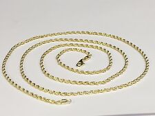 "10kt SOLID Yellow Gold Diamond Cut ROPE Pendant Chain/Necklace 16"" 2mm 3 grams"