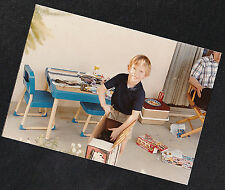 Vintage Photograph Cute Little Boy Playing With Toys on the Patio